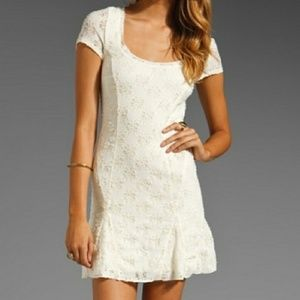 Free People Floral Lace Ivory Dress
